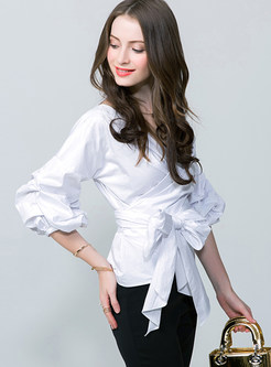 Sweet Bowknot Patch Loose Blouse