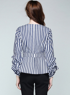Casual Striped V-Neck A-Line Long Sleeve Blouse
