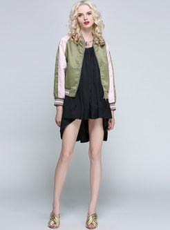 Brief Patch Zip-Up Short Embroidery Coat