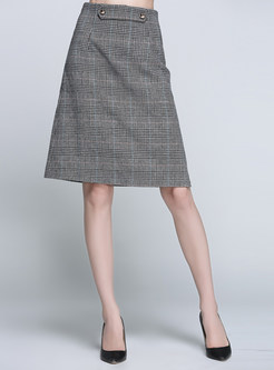Vintage Plaid High Waist Skirt