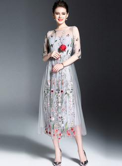 Embroidered Patchwork Half Sleeve Maxi Dress