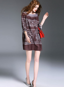 Vintage Three Quarters Sleeve Shift Dress
