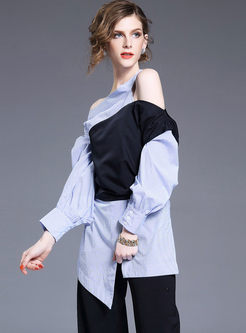 Chic Asymmetric Off Shoulder Hit Color Stripe Blouse