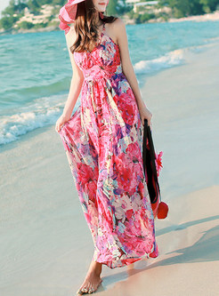 Fashion Sleeveless Print Chiffon Maxi Dress
