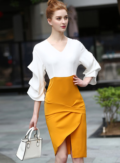 Chic Wave Sleeve Color-blocked Split Skinny Dress