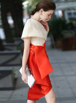 Stylish Color-blocked Asymmetric Patch Skinny Dress