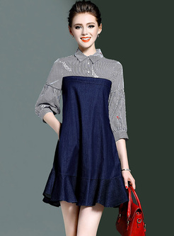 Chic Color-blocked Lapel Embroidery Shift Dress