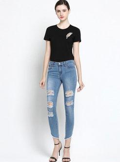 Brief O-neck Short Sleeve Leaf T-shirt