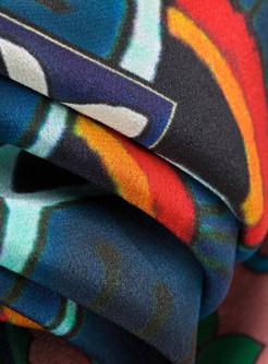 Ethnic O-neck Three Quarters Sleeve Shift Dress