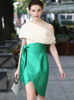 Stylish Color-blocked Asymmetric Patch Skinny Dress
