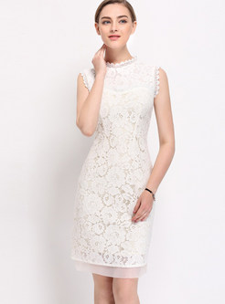 Elegant Pure Color Sleeveless Embroidery Bodycon Dress