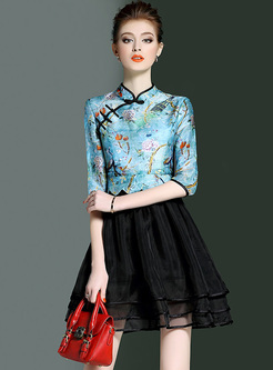 Retro Floral Print Mesh Patch Slim Dress