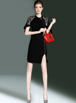 Elegant Caped-sleeve Zippered Sheath Dress