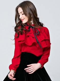 Cute Stand Collar Solid Color Peplum Blouse