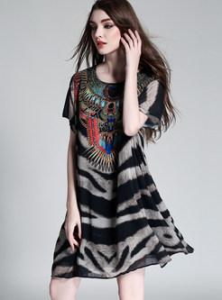 Stylish O-neck Loose Chiffon Shift Dress