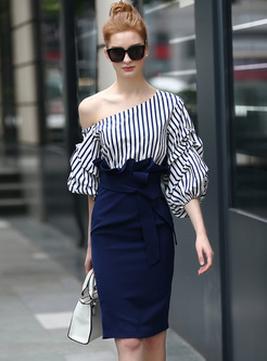 Chic One Shoulder Waist Asymmetric Patch Bodycon Dress