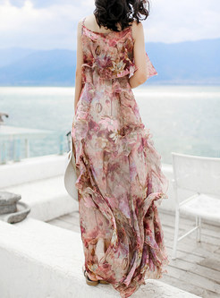 Sexy Sleeveless Print Pleated Stylish Maxi Dress