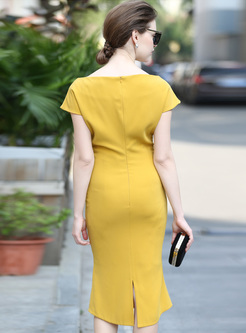 Chic Slash Neck High Waist Yellow Mermaid Dress