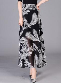 5e4562975d9 Vintage Feather Print High Waist Long Skirt ...