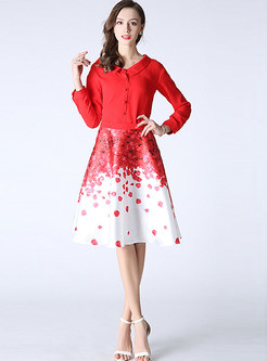 Cute Red Blouse & Print A-Line Skirt Outfits | Ezpopsy.com