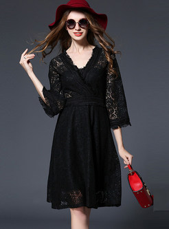 Sexy Lace V-neck Hollow Out Skater Dress