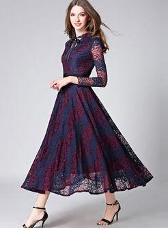 V-neck Hit Color Patchwork Lace Maxi Dress