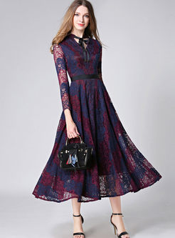 Chic V-neck Hit Color Patchwork Lace Maxi Dress