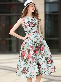Sweet Print O-neck Sleeveless Skater Dress