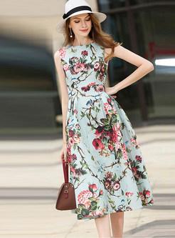 Print O-neck Sleeveless Skater Dress