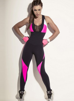 Stylish See-through Hit Color Yoga Backless Jumpsuit