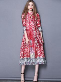 Ethnic Stand Collar Print Vintage Maxi Dress   Ezpopsy.com