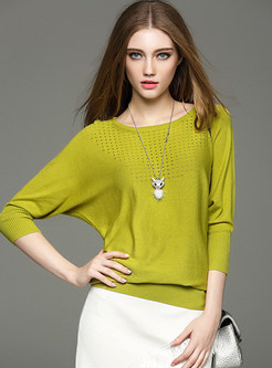 Casual Bat Sleeve Pure Color Sweater