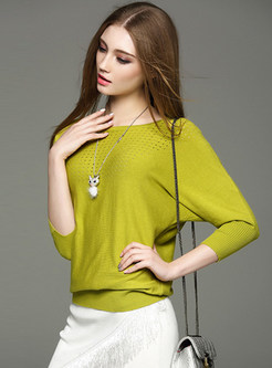 Bat Sleeve Pure Color Sweater