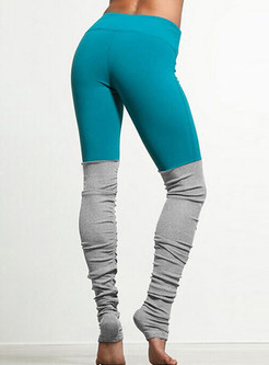 Fashion Pure Color Stitching Bottoms