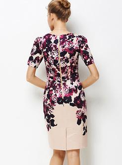 Vintage Floral Print Waist Bodycon Dress