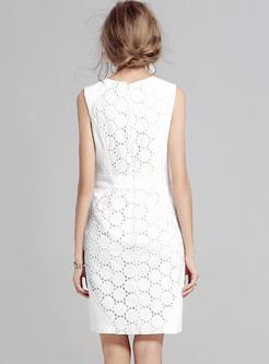 Brief White Hollow Sleeveless Bodycon Dress
