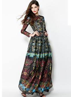 Crew Neck Long Sleeve High Waisted Maxi Dress