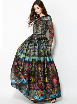 Crew Neck Long Sleeve Print Beach Maxi Dress