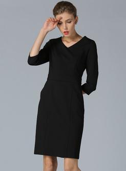 Brief Black V-neck High Waist Bodycon Dress