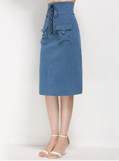 Chic Lace-up Pocket Slim Skirt