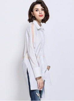 Sexy Perspective Lapel Asymmetric Blouse