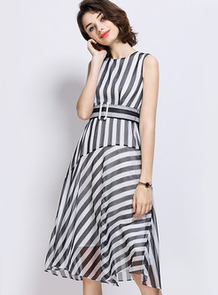 Casual Stripe O-neck Sleeveless Skater Dress