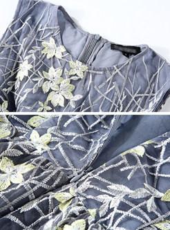 Vintage Mesh Embroidery Skater Dress