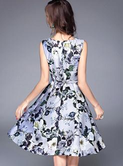 Fashion Sleeveless O-neck Ink Print Skater Dress