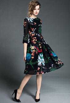 Vintage Print Midi Dress