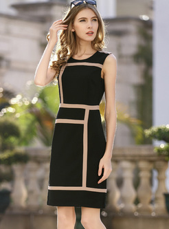 Brief Print O-neck Sleeveless Bodycon Dress
