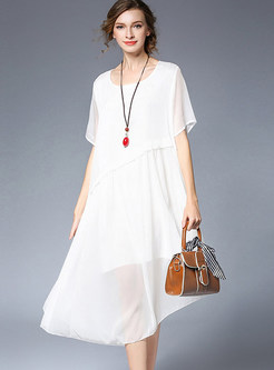 Casual Pure Color Asymmetric Half Sleeve Shift Dress
