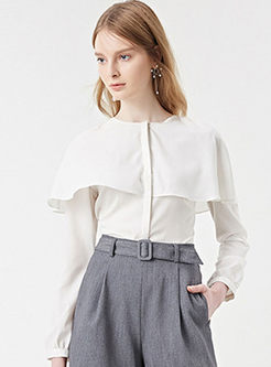 Pure Color Falbala Long Sleeve Blouse