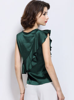 Elegant Silk Pure Color Sleeveless Blouse