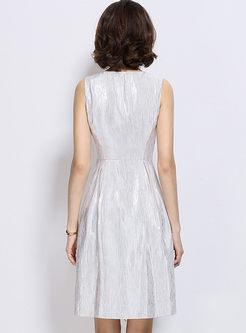 Elegant Pure Color Sleeveless Zipper Skater Dress